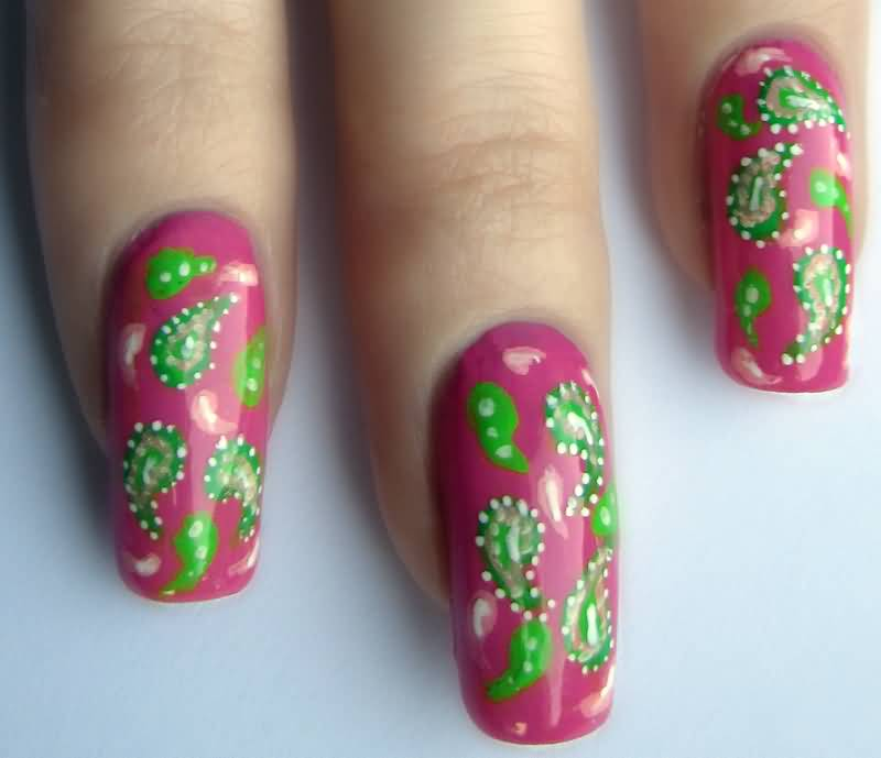65 Best Green And Pink Nail Art Designs