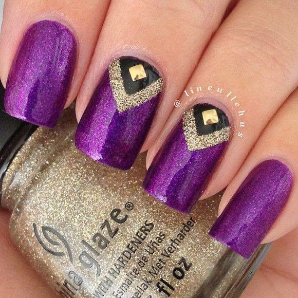 - Purple And Gold Studs Nail Art Design Idea