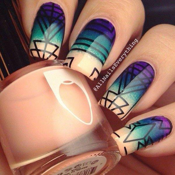 Purple And Green Geometric Nail Art Design Idea
