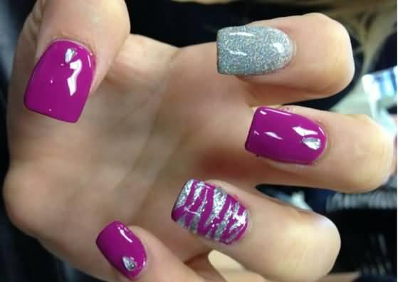 Purple and silver glitter zebra stripes nail art prinsesfo Images