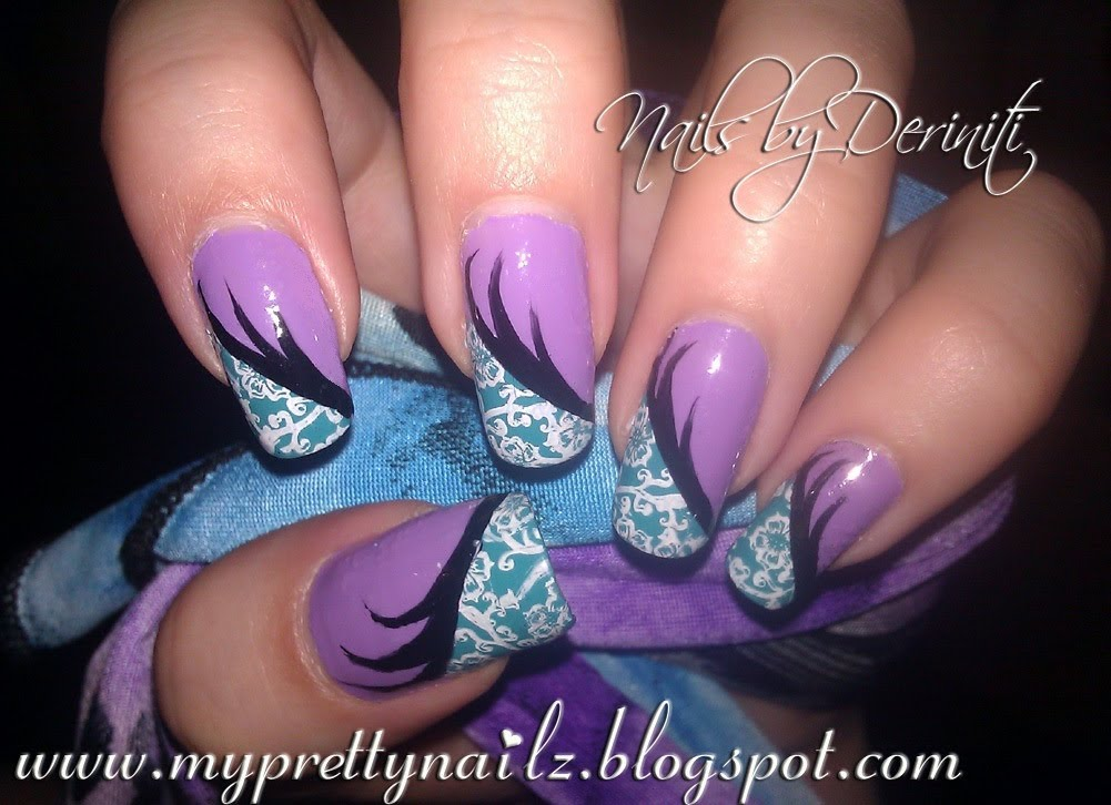 - Purple And Teal Nails With Stamping Nail Art
