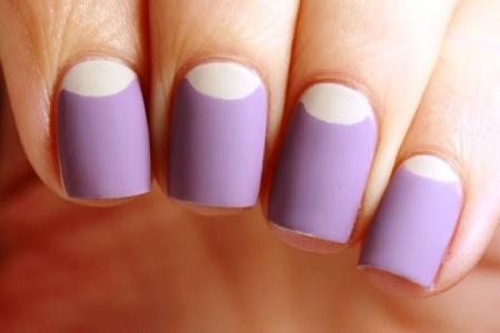 Purple And White Half Moon Nail Art Design Idea - 60 Latest Half Moon Nail Art Designs