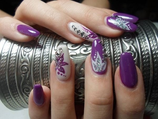 Purple flowers and rhinestones nail art design idea prinsesfo Gallery