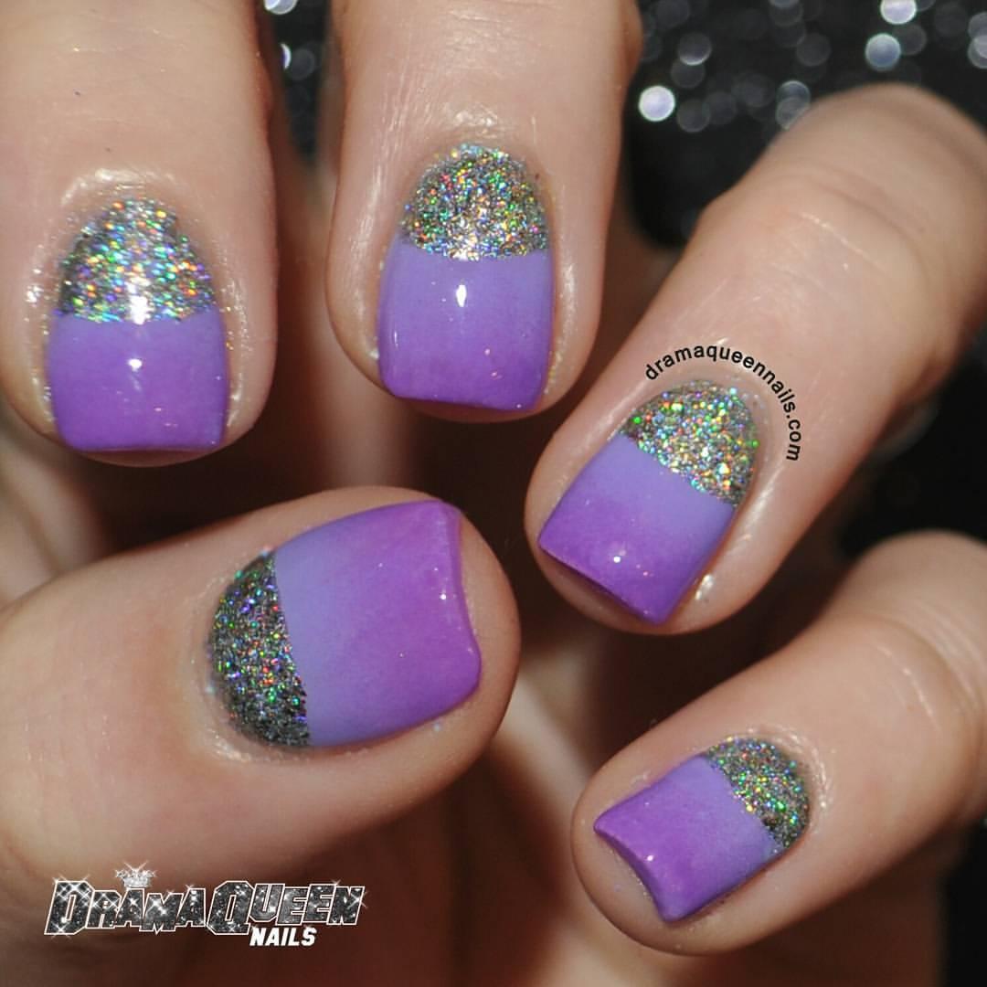 55 most beautiful glitter half moon nail art design ideas