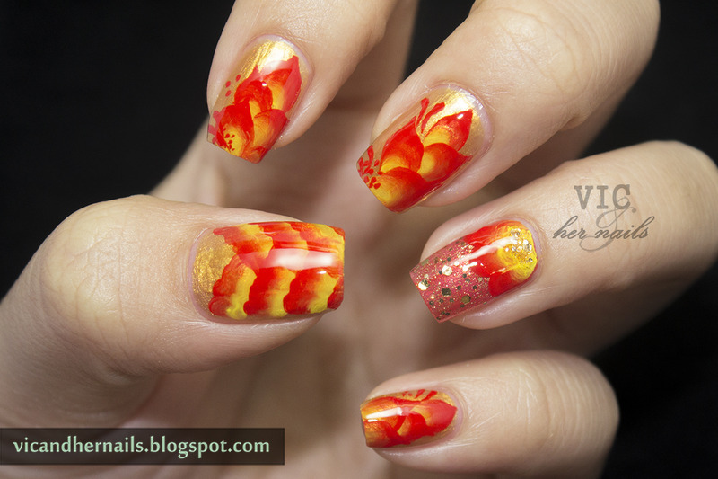 60 latest chinese nail art designs red and yellow gradient chinese nail art by victoria oen prinsesfo Gallery
