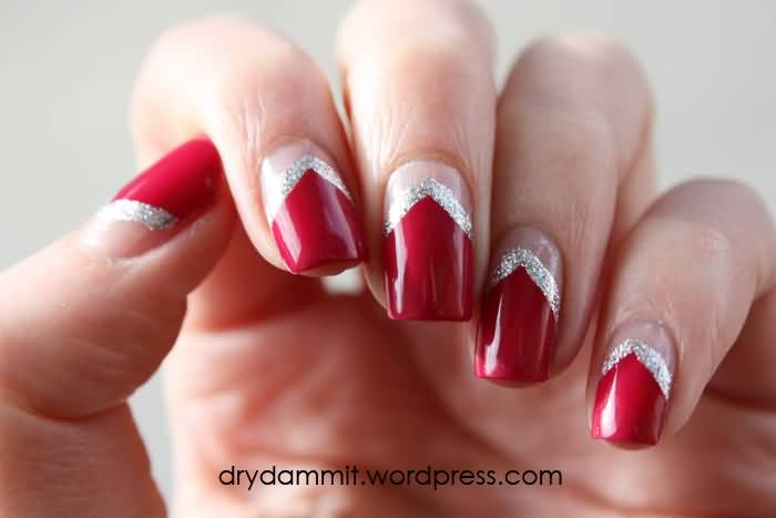 60 latest half moon nail art designs red nails with silver glitter and nude half moon nail art prinsesfo Image collections