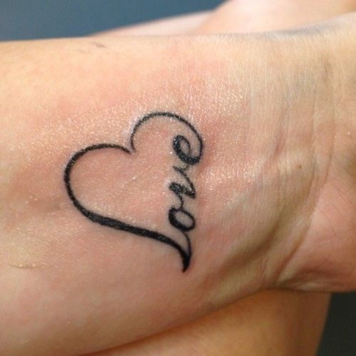 Small Popular Heart Love Tattoo On Wrist