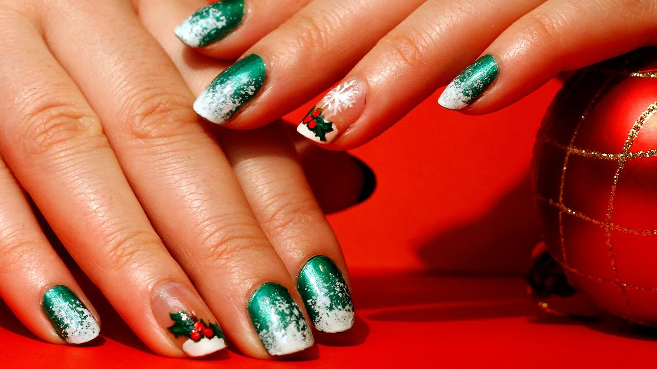 Snowy Green Christmas Nail Art Design
