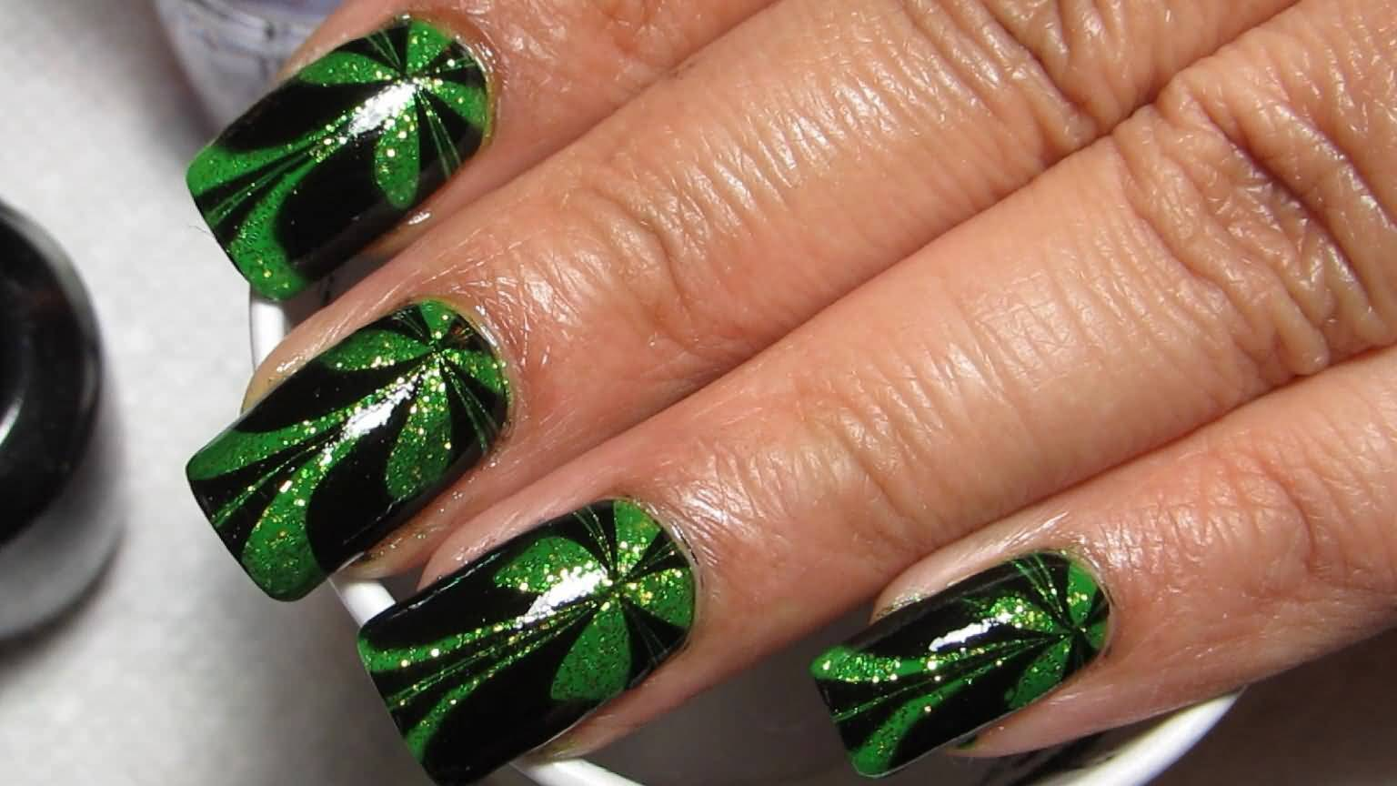 Sparkly Green And Black St Patricks Day Water Marble Nail Art Tutorial