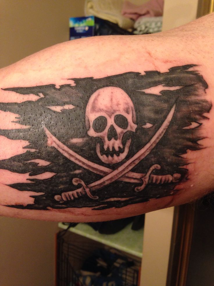 20 terrific pirate flag tattoos. Black Bedroom Furniture Sets. Home Design Ideas