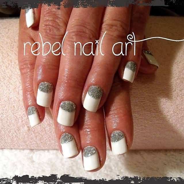 the gallery for gt glitter half moon nails