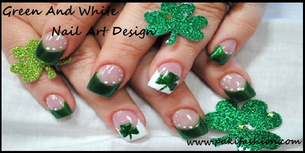 50 best green and white nail art design ideas for girls white tip and green shamrock leaf nail art design idea prinsesfo Image collections