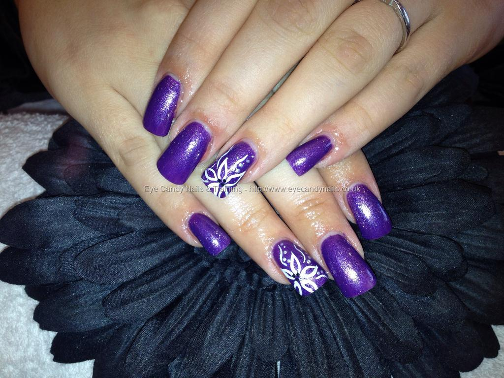 65 latest purple nail art designs for trendy girls acrylic purple nails with accent white flowers prinsesfo Choice Image
