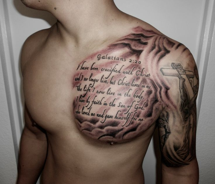 Amazing Spiritual Quote Tattoo On Chest To Shoulder