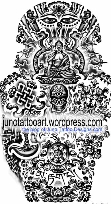 Amazing Tibetan Buddhist Tattoo Design By Juno