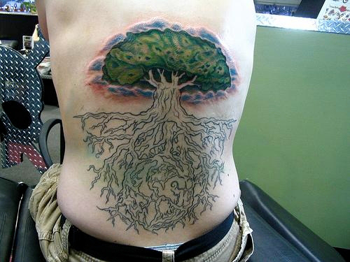 Amazing Tree Of Life Tattoo On Side Rib For Men