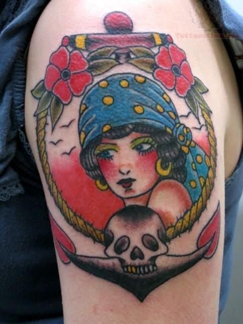 anchor pirate girl traditional tattoo on left shoulder. Black Bedroom Furniture Sets. Home Design Ideas