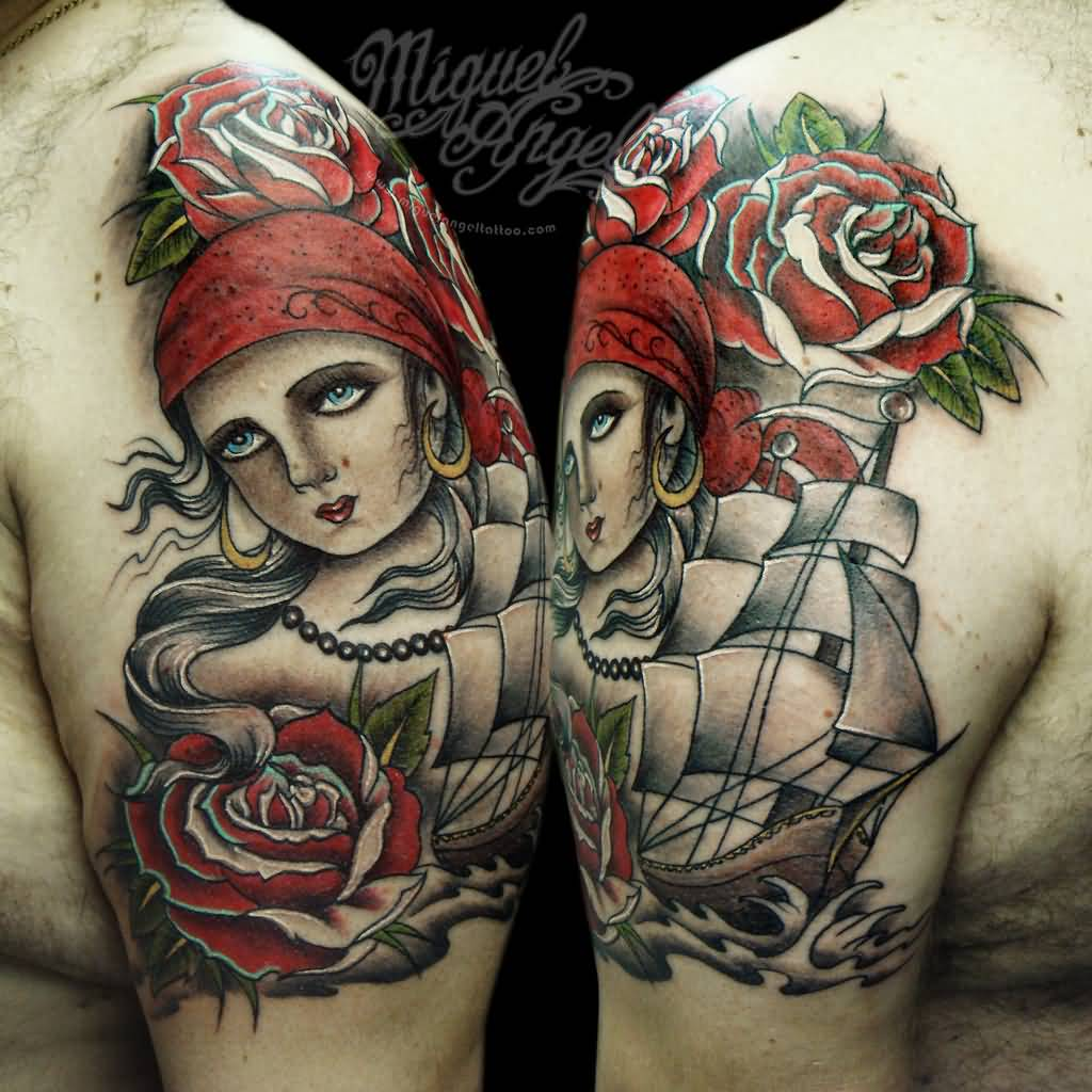 23 traditional pirate girl tattoos. Black Bedroom Furniture Sets. Home Design Ideas