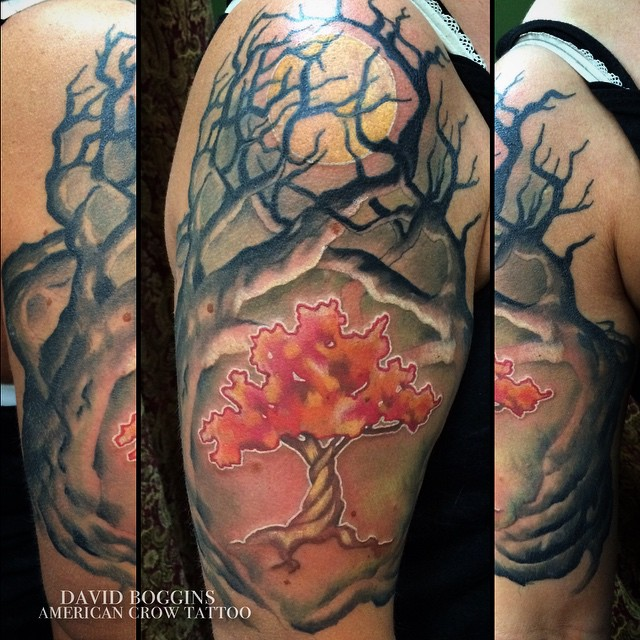 Attractive Tree Of Life Tattoo On Right Half Sleeve