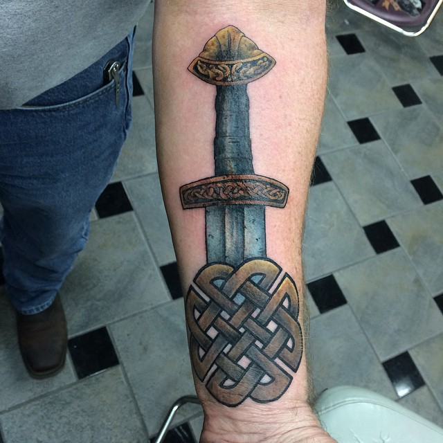 awesome celtic weapons tattoo on forearm. Black Bedroom Furniture Sets. Home Design Ideas