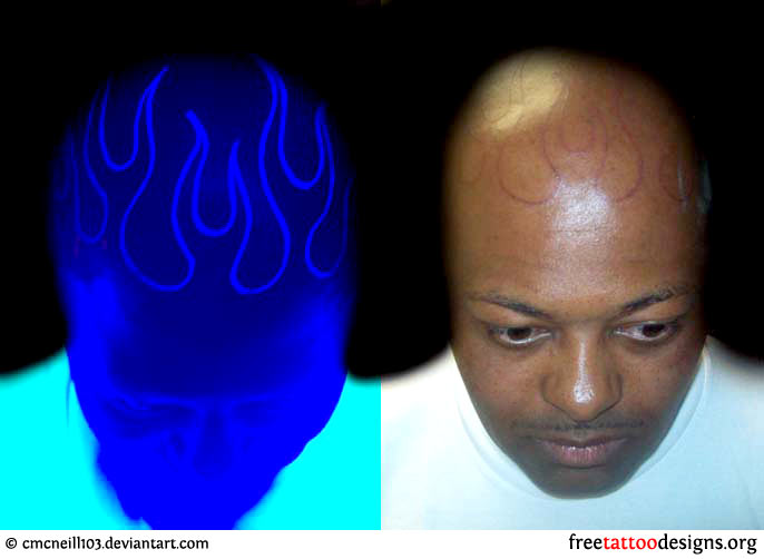 12507d648 Awesome Flaming Head Normal And Black Light UV Tattoo