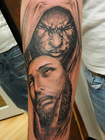 awesome grey satan jesus tattoo on forearm. Black Bedroom Furniture Sets. Home Design Ideas