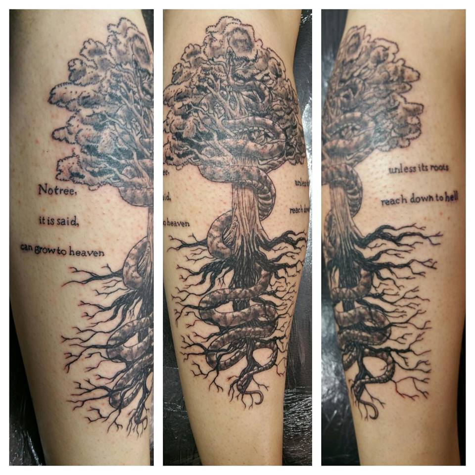 Awesome Grey Tree Of Life Tattoo