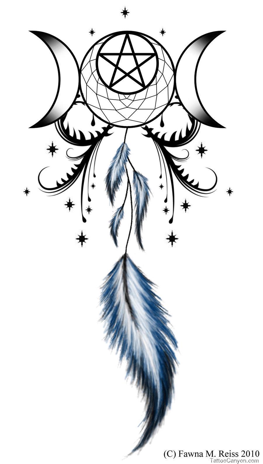 Awesome pagan triple moon tattoo design