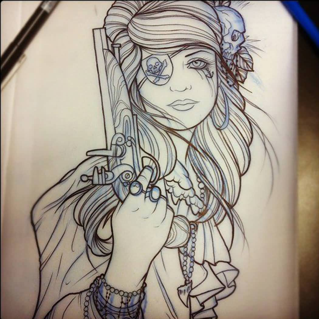 awesome pirate girl tattoo sketch by dave olteanu. Black Bedroom Furniture Sets. Home Design Ideas