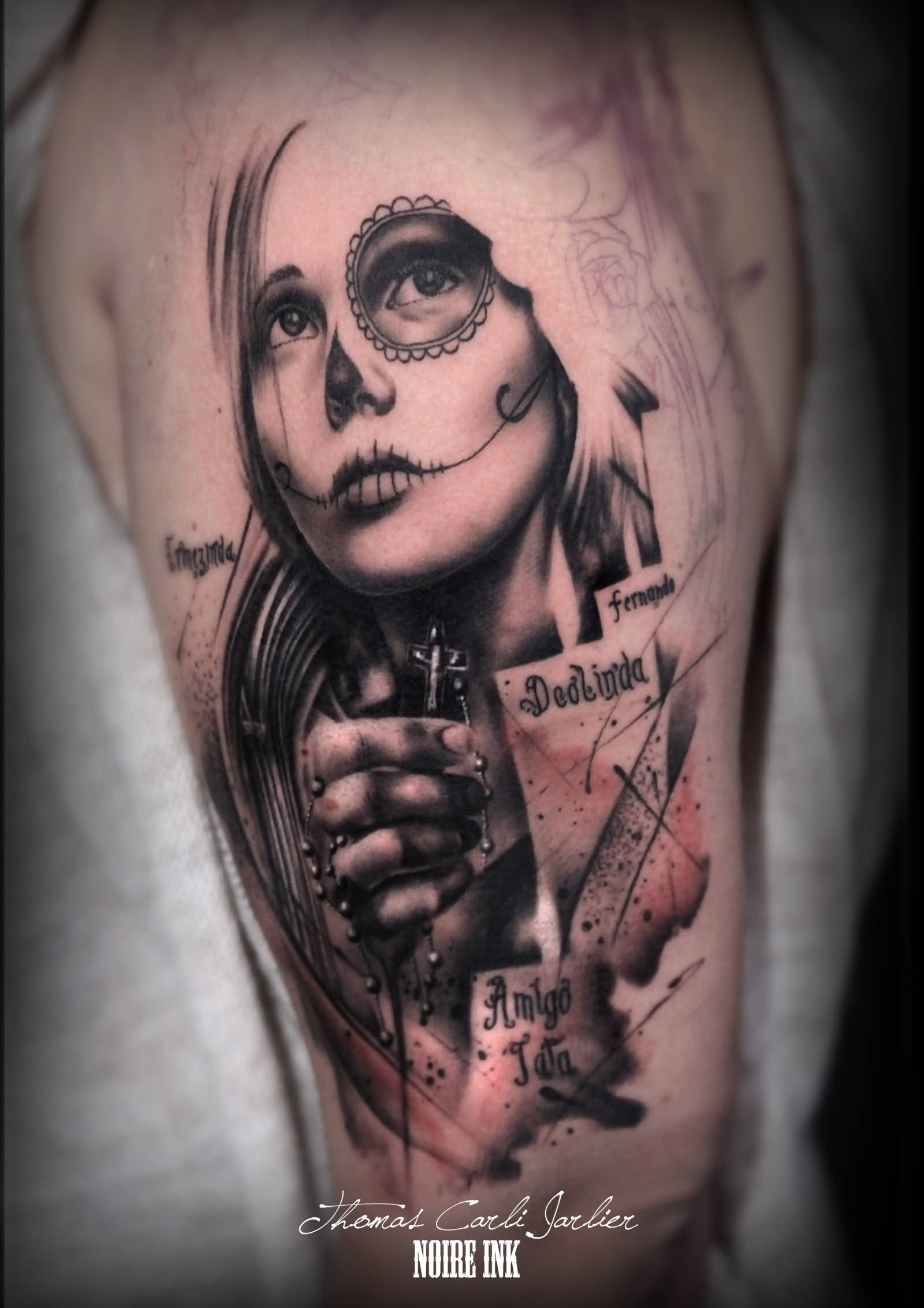 Awesome Realistic Color Catrina Tattoo On Left Half Sleeve By Thomas