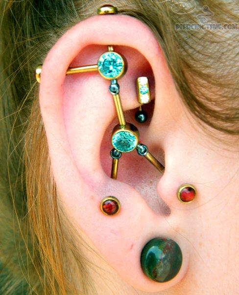 Custom Industrial Piercing On Right Ear