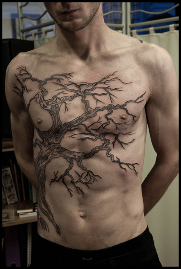 Big Tree Of Life Tattoo On Chest For Men