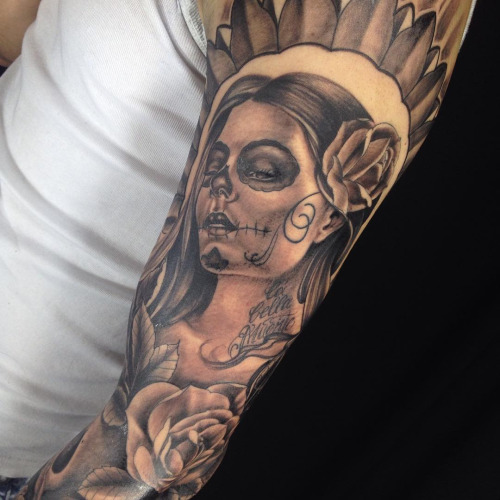 nice catrina with cards tattoo on arm sleeve. Black Bedroom Furniture Sets. Home Design Ideas