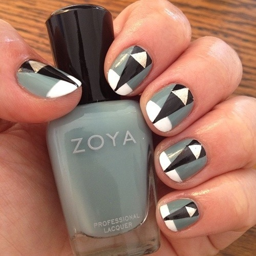 50 latest geometric nail art designs black and grey geometric nail art prinsesfo Images