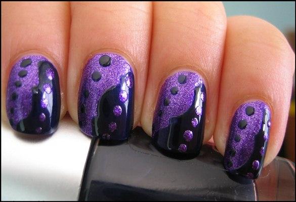 Black And Purple Nail Art - 65 Cool Purple Nail Art Design Ideas