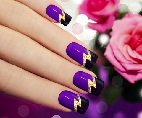Black And Purple Nails With Gold Lighting Sign Nail Art