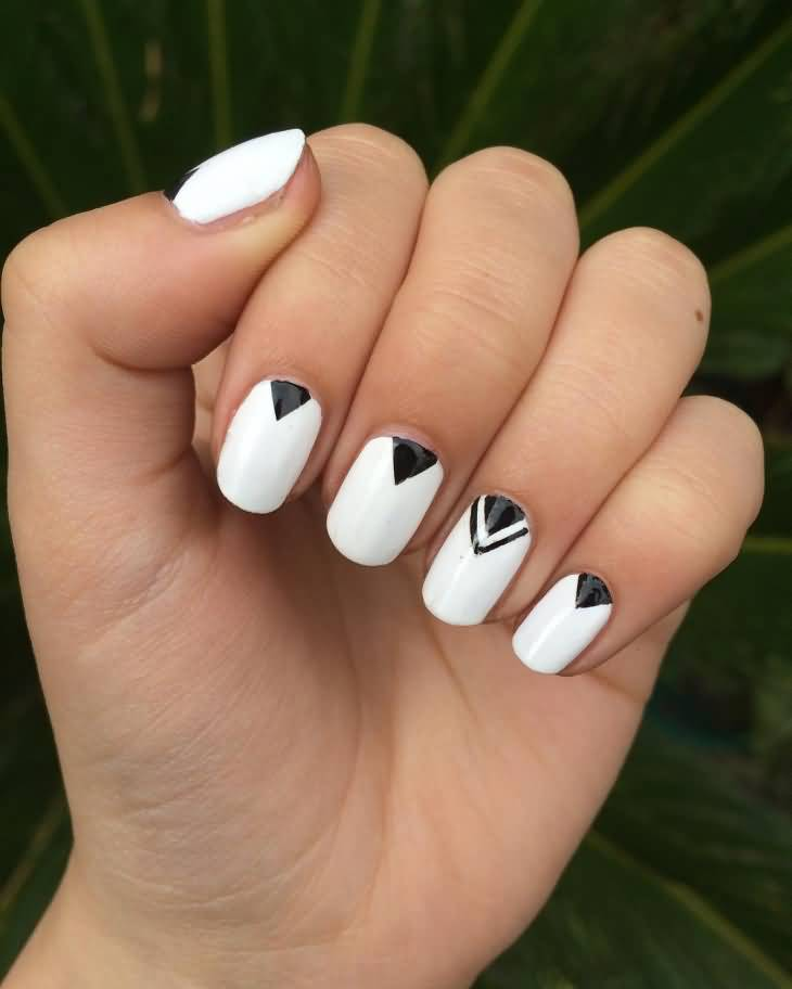 50 latest geometric nail art designs black and white modern geometric nail art design idea prinsesfo Choice Image