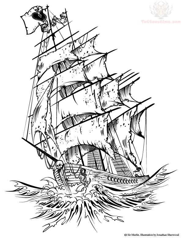 Pirate Ship Tattoo Design: 9+ Pirate Ship Tattoos Designs