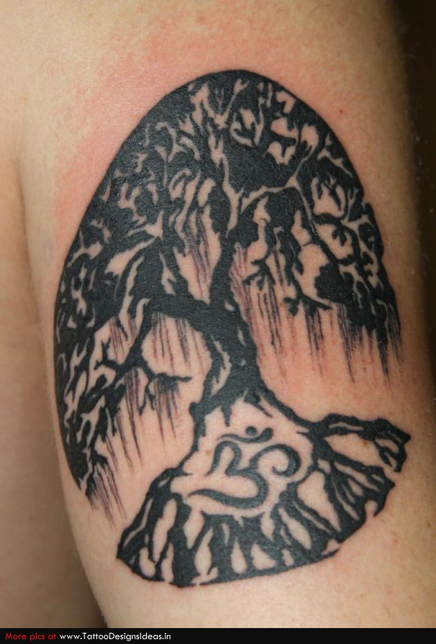 Black Ink Religious Tree Of Life Tattoo