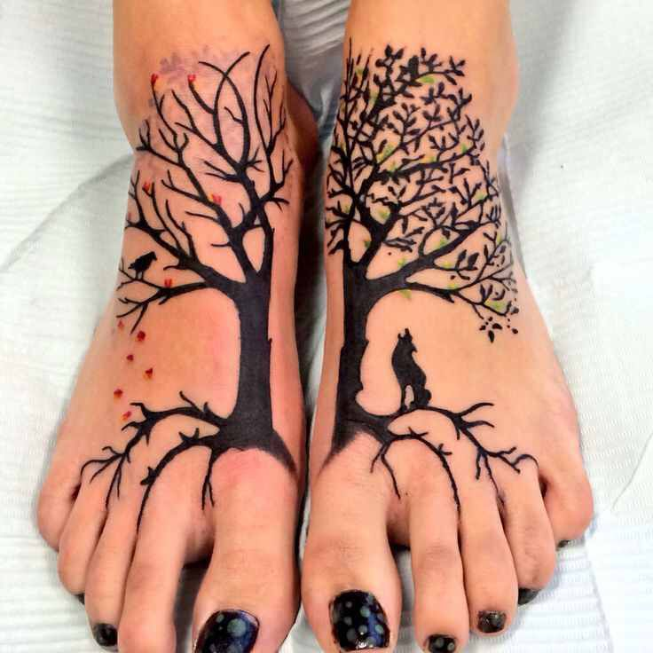 Black Ink Tree Of Life Tattoo On Both Foots