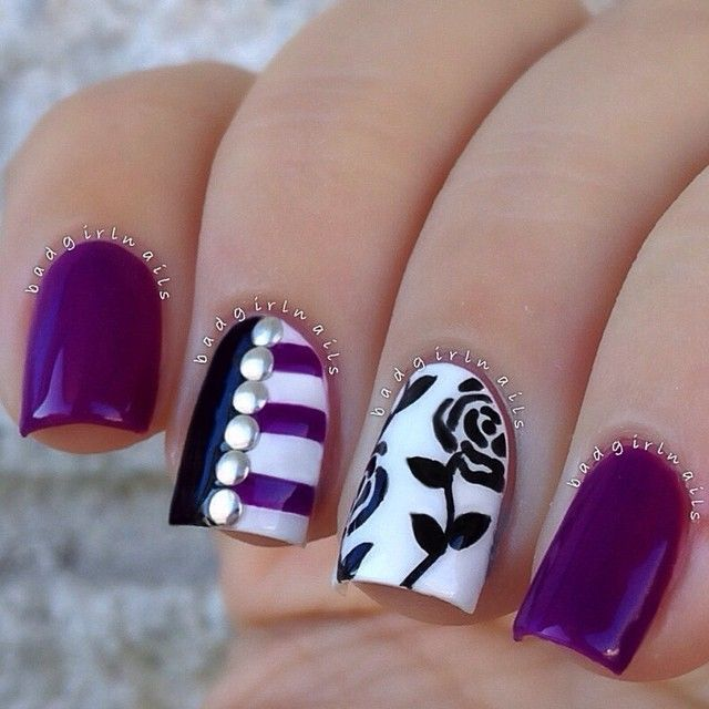 40 Classy Black Nail Art Designs For Hot Women: 65 Latest Purple Nail Art Designs For Trendy Girls