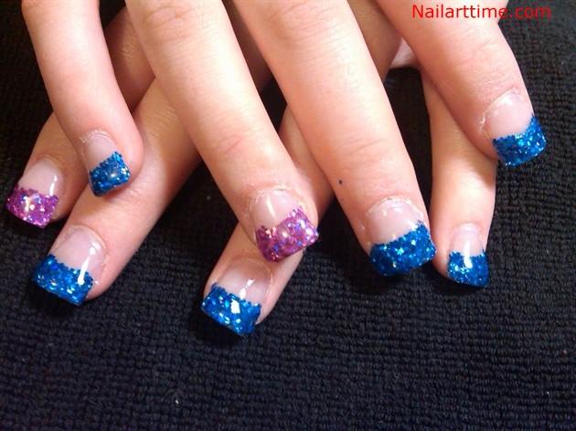 Blue And Purple Glitter Tip Nail Art