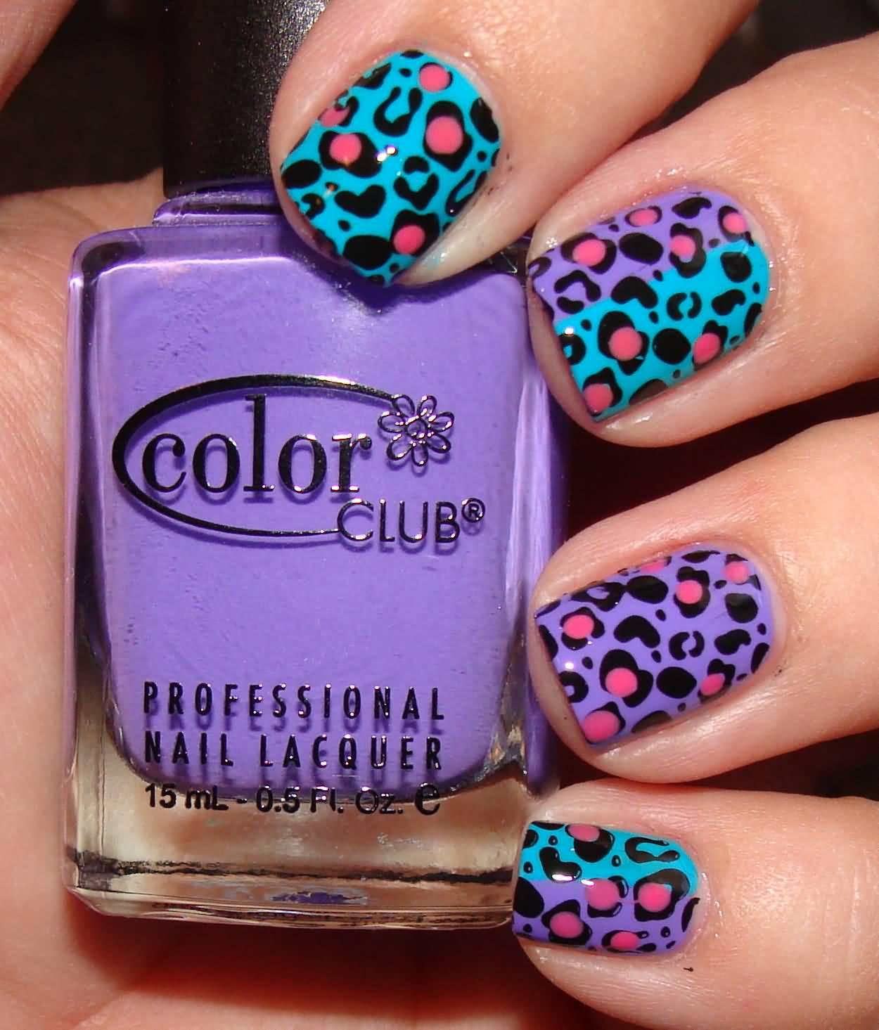 55 best purple nail art designs blue and purple leopard print nail art idea prinsesfo Choice Image