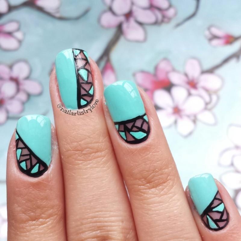 Blue Geometric Nail Art Design Idea