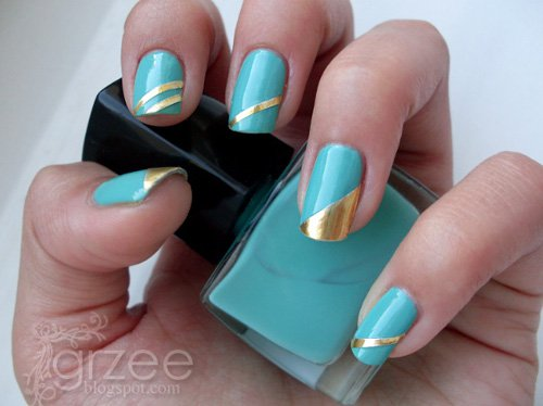 Blue and gold striping tape nail art design blue nails with gold stripes geometric nail art design idea prinsesfo Gallery