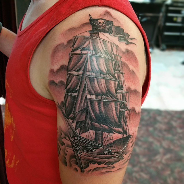 45+ Pirate Ship Tattoos Ideas