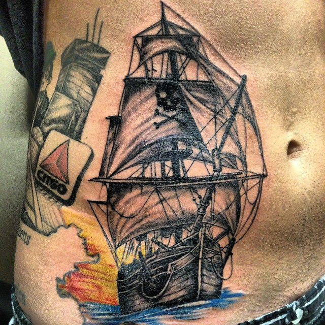 Brilliant Pirate Ship Tattoo