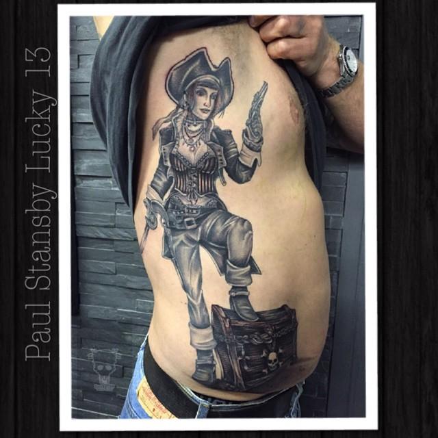 bf7370f84 Brilliant Black Pirate Girl Tattoo On Side Rib