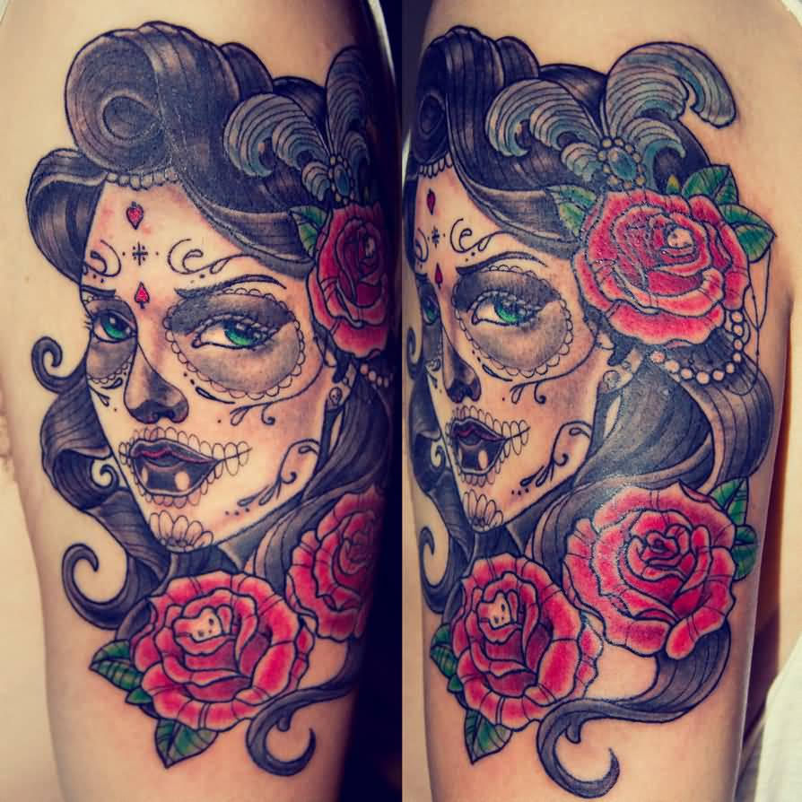 Beautiful catrina face with rose flower tattoo design for Tattoo style flowers