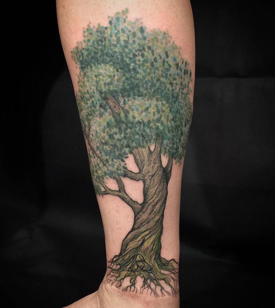 Brilliant Colored Tree Of Life Tattoo